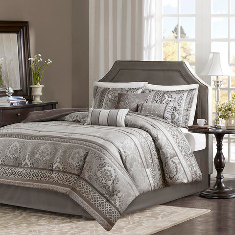 Madison Park Bellagio 7 Piece Jacquard Comforter Set Cal King