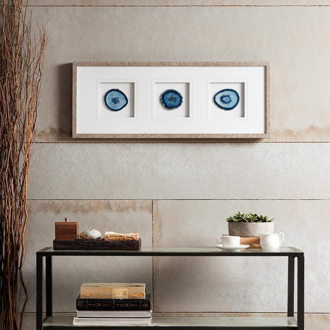Madison Park Blue Agate Trio Stone Framed Graphic