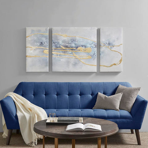 Madison Park Blue Cosmo 3 Piece Canvas Set Hand Embellished Textured Glitter And Gold Foil