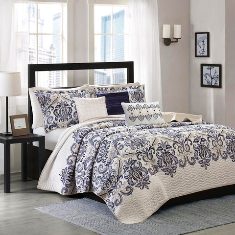 Madison Park Cali 6 Piece Reversible Coverlet Set King/Cal King