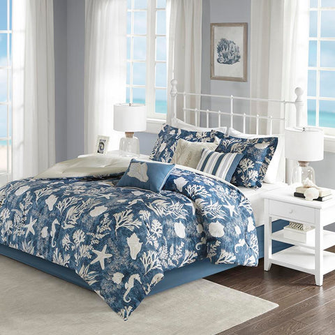 Madison Park Cape Cod 7 Piece Cotton Sateen Comforter Set Cal King