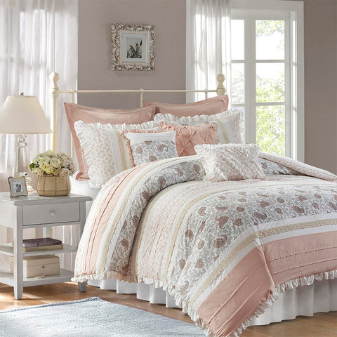 Madison Park Dawn 9 Piece Cotton Percale Duvet Cover Set Queen