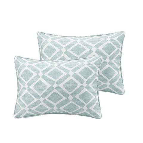 Madison Park Delray Diamond Printed Oblong Pillow Pair 14x20""