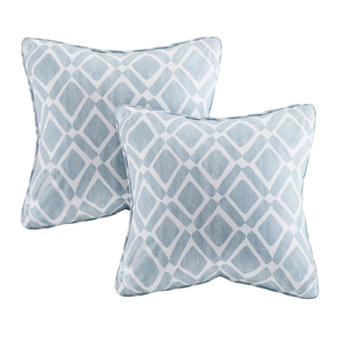 Madison Park Delray Diamond Printed Square Pillow Pair 20x20""