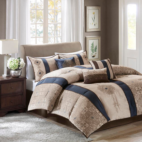 Madison Park Donovan 7 Piece Jacquard Comforter Set King