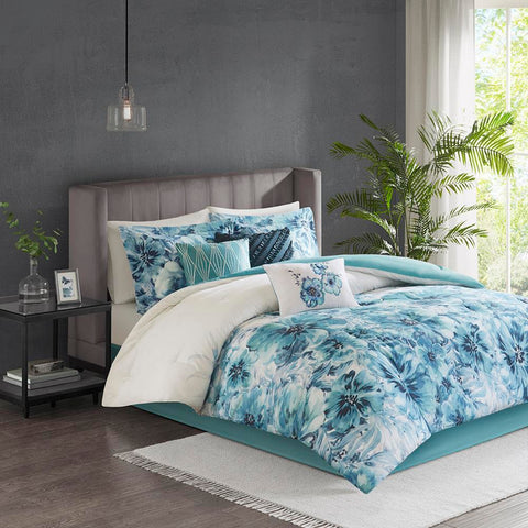 Madison Park Enza 7 Piece Cotton Printed Comforter Set King
