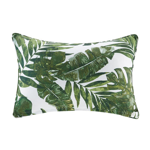 Madison Park Everett Printed Palm 3M Scotchgard Outdoor Oblong Pillow 14x20""