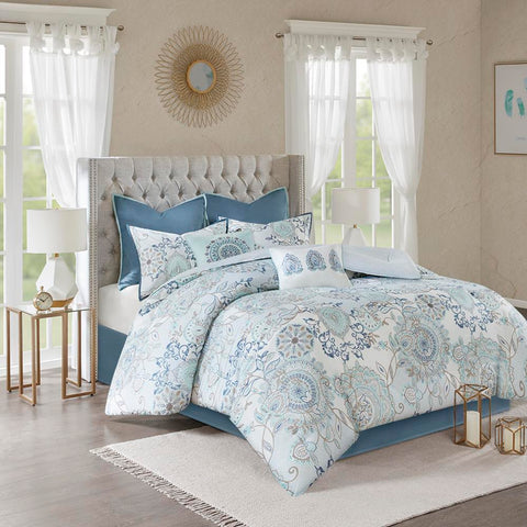 Madison Park Isla 8 Piece Cotton Printed Reversible Comforter Set Cal King
