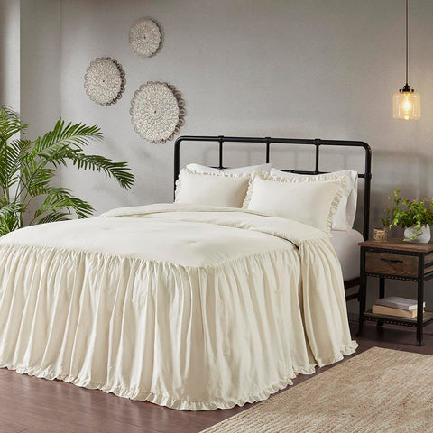 Madison Park Juliet 3 Piece Cotton Ruffle Skirt Bedspread Set Queen