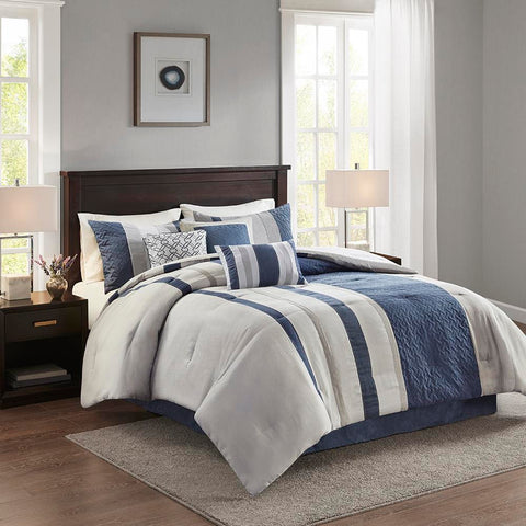 Madison Park Kennedy 7 Piece Faux Suede Comforter Set Queen