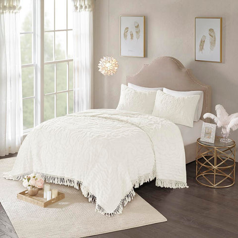 Madison Park Laetitia Tufted Cotton Chenille Medallion Fringe Coverlet Set King/Cal King