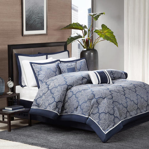 Madison Park Medina 8 Piece Jacquard Comforter Set Cal King