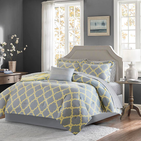 Madison Park Merritt Reversible Complete Comforter and Cotton Sheet Set Queen