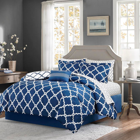 Madison Park Merritt Reversible Complete Comforter and Cotton Sheet Set Twin