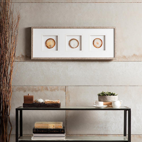 Madison Park Natural Agate Trio Stone Framed Graphic