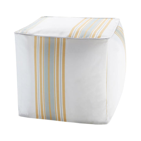 Madison Park Newport Printed Stripe 3M Scotchgard Outdoor Square Pouf 18x18x18""
