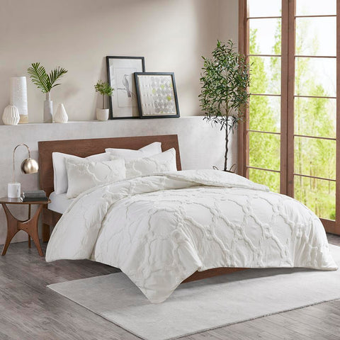 Madison Park Pacey 3 Piece Tufted Cotton Chenille Geometric Comforter Set King/Cal King