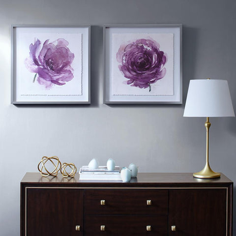 Madison Park Purple Ladies Rose Frame Graphic 2 Piece Set