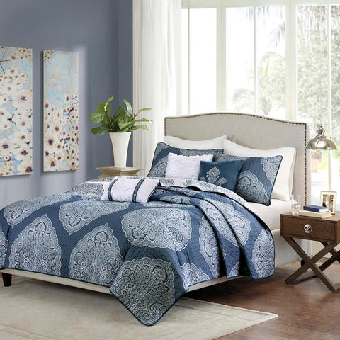 Madison Park Rachel 6 Piece Reversible Quilted Coverlet Set Full/Queen