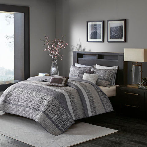 Madison Park Rhapsody 6 Piece Reversible Jacquard Coverlet Set Full/Queen