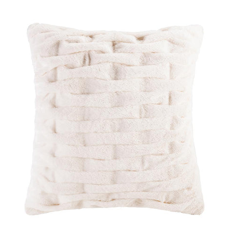 Madison Park Ruched Fur Square Pillow 20x20""