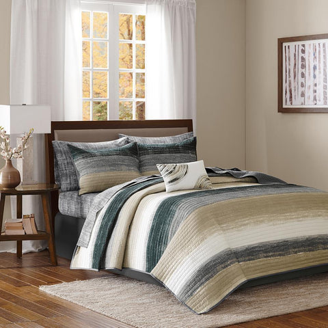 Madison Park Saben Complete Reversible Coverlet and Cotton Sheet Set Queen