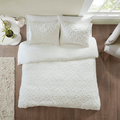 Madison Park Sabrina 3 Piece Tufted Cotton Chenille Duvet Cover Set King/Cal King