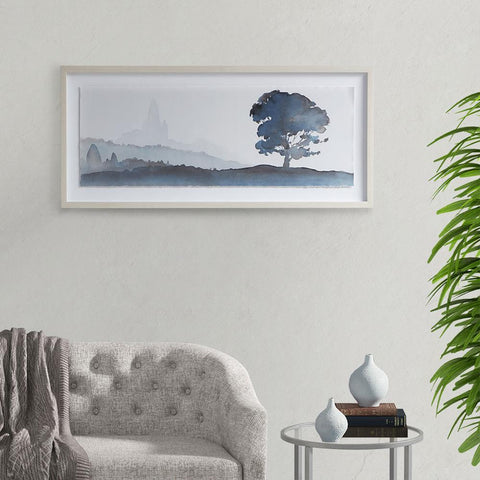 Madison Park Serene Silhouette Glass Framed Scenery Graphic with Single Floating Mat