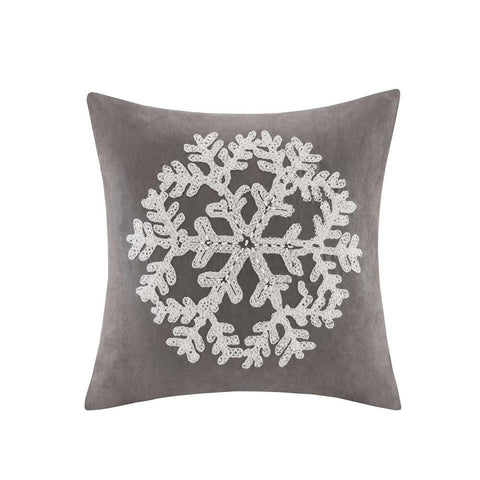 Madison Park Snowflake Embroidered Suede Square Pillow Square Pillow 20x20""