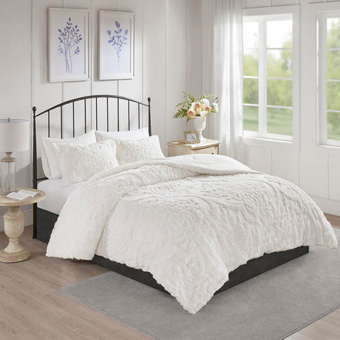 Madison Park Viola 3 Piece Tufted Cotton Chenille Damask Comforter Set Full/Queen