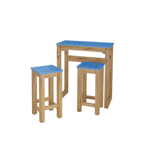 "Manhattan Comfort 3-Piece Stillwell 31.5"" Bar Kitchen Set in Blue and Natural Wood"