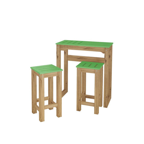 "Manhattan Comfort 3-Piece Stillwell 31.5"" Bar Kitchen Set in Green and Natural Wood"