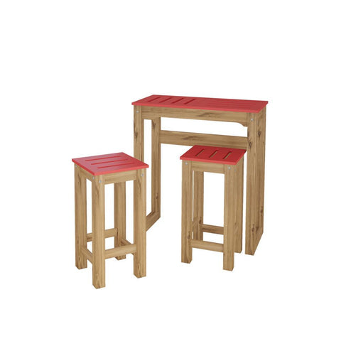 "Manhattan Comfort 3-Piece Stillwell 31.5"" Bar Kitchen Set in Red and Natural Wood"