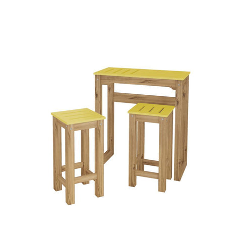 "Manhattan Comfort 3-Piece Stillwell 31.5"" Bar Kitchen Set in Yellow and Natural Wood"