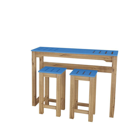 "Manhattan Comfort 3-Piece Stillwell 47.3"" Bar Kitchen Set in Blue and Natural Wood"