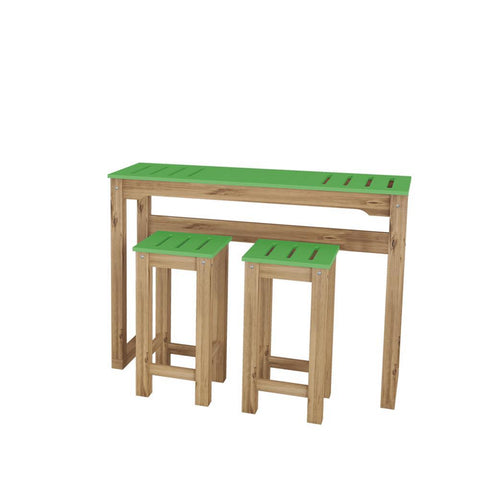 "Manhattan Comfort 3-Piece Stillwell 47.3"" Bar Kitchen Set in Green and Natural Wood"