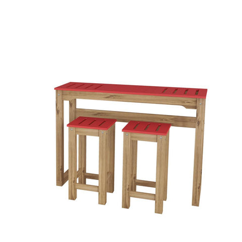 "Manhattan Comfort 3-Piece Stillwell 47.3"" Bar Kitchen Set in Red and Natural Wood"
