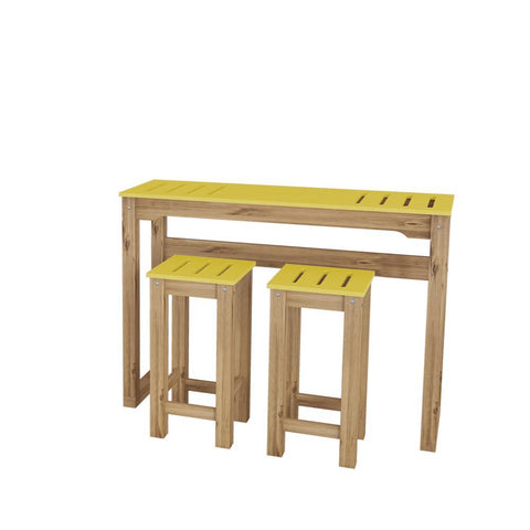 "Manhattan Comfort 3-Piece Stillwell 47.3"" Bar Kitchen Set in Yellow and Natural Wood"