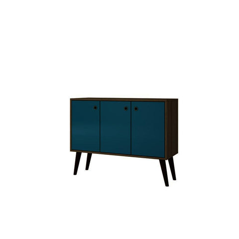 Manhattan Comfort Bromma 35 Inch Buffet Stand w/3 Shelves & 3 Doors in Oak and Aqua
