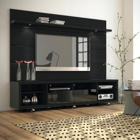 online retailer a0164 b9024 Manhattan Comfort Cabrini 2-1531382353 TV Stand And Floating Wall TV Panel  With Led Lights In Black