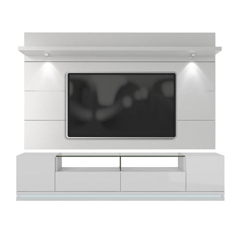 Manhattan Comfort Cabrini Vanderbilt TV Stand And Floating Wall TV Panel With Led Lights In White Gloss