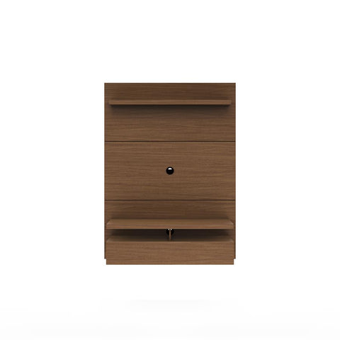 Manhattan Comfort City 25051 Floating Wall Theater Entertainment Center In Nut Brown