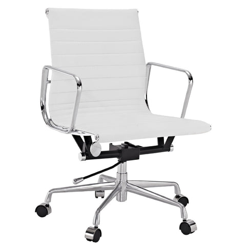 Manhattan Comfort Delancey Mid-Back Adjustable Office Chair in White