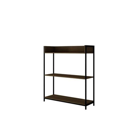 Manhattan Comfort Ellis 37 Inch Bookcase 2.0 w/3 Shelves in Dark Oak & Black