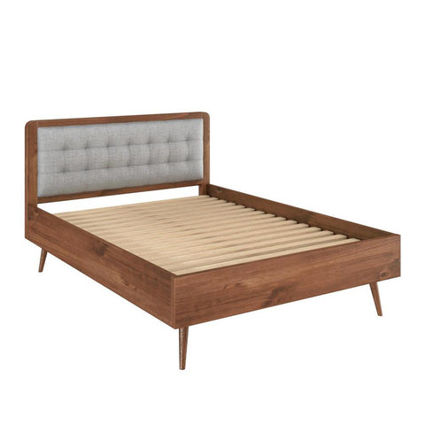"Manhattan Comfort Rustic -Modern 62"" Tufted Bedford 2.0 Queen-size Bed Frame with Headboard in Solid Pine Wood in Varnish and Grey"