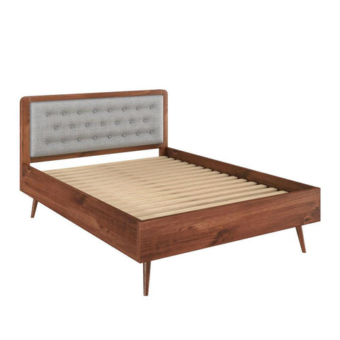 "Manhattan Comfort Rustic -Modern 62"" Tufted Bedford Queen-size Bed Frame with Headboard in Solid Pine Wood in Varnish and Grey"