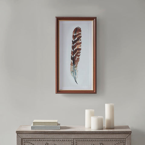 Martha Stewart Wind Feather I Framed Glass Wall Art Single Mat