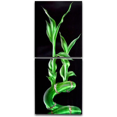 Lucky Bamboo 3 Panel Handmade Metal Wall Art