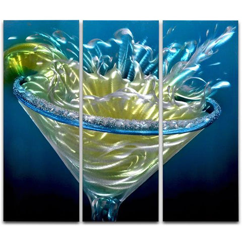 Margarita Splash 3 Paneled Handmade Metal Wall Art