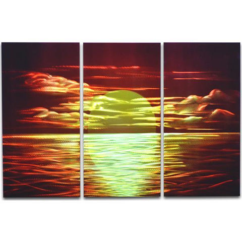 Red Sunset 3 Paneled Handmade Metal Wall Art